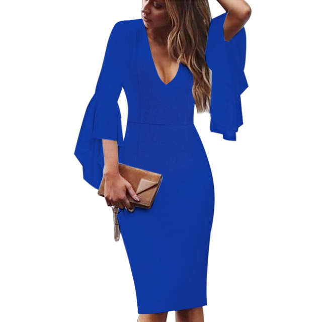 Vfemage Womens Sexy Deep V-neck Flare Bell Long Sleeves Elegant Work Business Casual Party Slim Sheath Bodycon Pencil Dress 1592