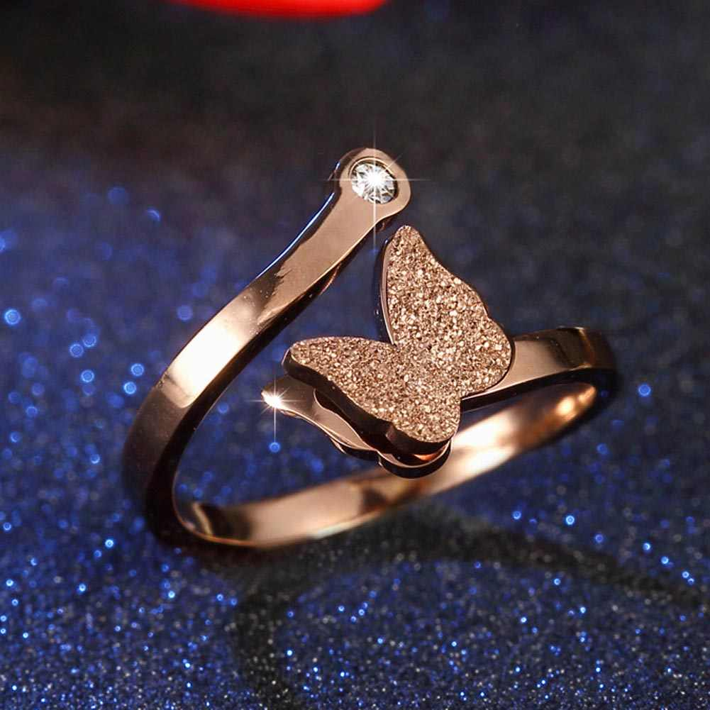 Girls Rose Gold Color Party Ring Fashion Butterfly Cute Ring Quality Stainless Steel Open Ring for Women Gift