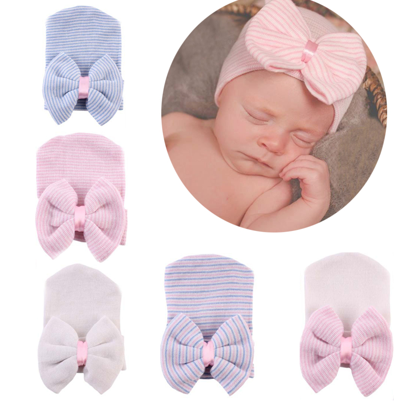 1992a10535d Newborn Baby Hat High Quality Infant Bebe Warm Winter Knitted Cap With Big Bow  Toddler Autumn Striped Soft Hospital Hats Beanies