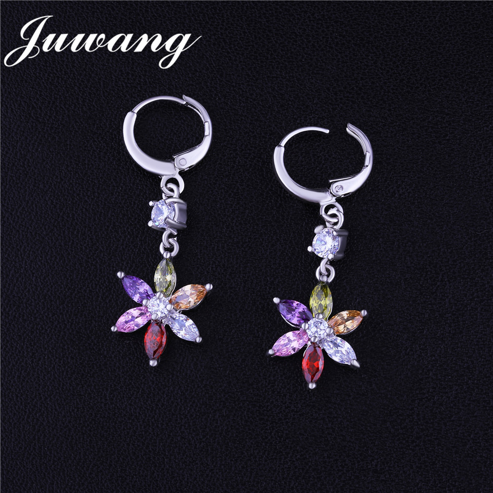 JUWANG mode mélange couleur étoile longue goutte boucles d'oreilles Brincos Micro pavé CZ oreille Clip mariage mode bijoux cadeau en gros 2