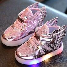 9960edc076 2018 Nova Outono Crianças Sneakers Crianças Asas Sapatos de Bebê Meninos e  Meninas Coloridas Piscando LED Luminoso Luzes Tênis