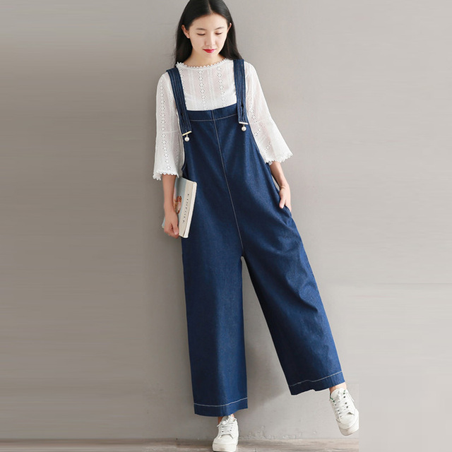 35e39fa0ae4e S-5XL Plus Summer Autumn Women Denim Blue Wide Leg Romper Long Jumpsuit  Trousers Dungaree Overalls Casual Loose Bib Cargo Pants