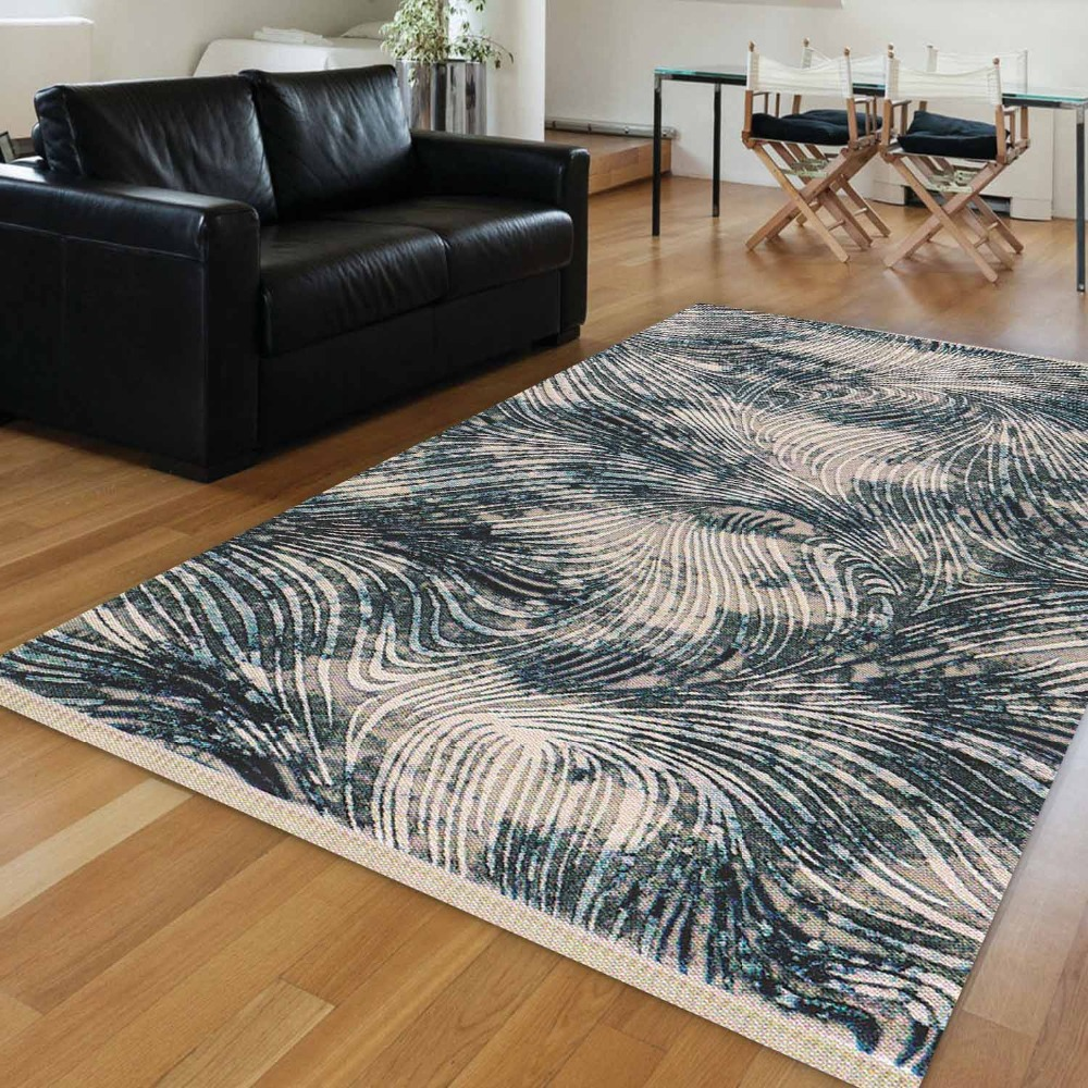 Else Blue Black Line White Wave Ethnic Vintage Retro Aging 3d Print Anti Slip Kilim Washable Decorative Area Rug Bohemian Carpet