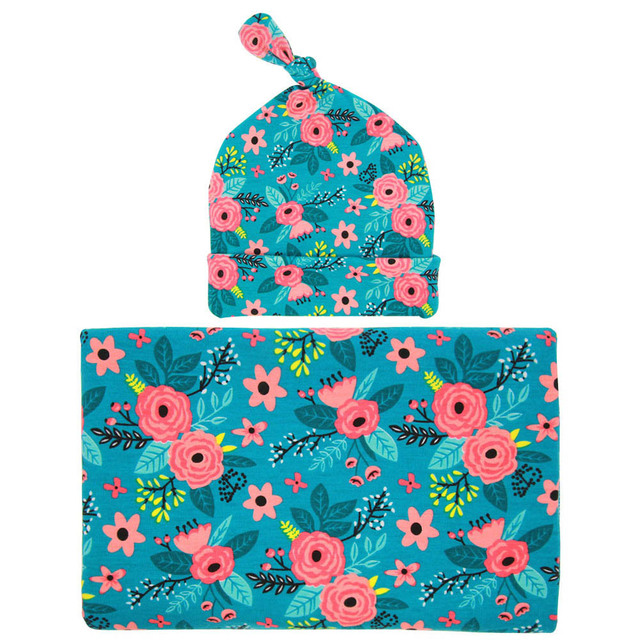 Baby swaddle set Newborn top knot hat Wild Flower photo prop Hospital set baby  boy girl Topknot beanie Baby Blanket 3 colors 8eb87c7981f