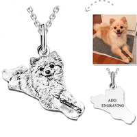 SMJE Provide Photo Custom Jewelry Necklace 925 Sterling Silver Personalized Dog Pet Necklace for Women Birthday Gift