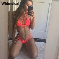 Swimsuit Micro Bikini 2017 Bandage Female Swimwear Women Swimsuits Brazilian Bikinis Set Beach Halter Solid Bathing