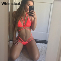 Swimsuit Micro Bikini 2017 Bandage Female Swimwear Women Swimsuits Brazilian Bikinis Set Beach Halter Solid Bathing