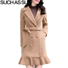New Alpaca Long Coat Women Clothes 5 Color Fall Winter Turn-Down Ruffle Double Breasted Coats M-3XL Plus Size Wool Coat Female coat 5