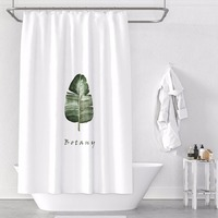 Custom Made Shower Curtain Bathroom Curtain Partition 1.2/1.5/1.8/2x1.8m 1.5x2m 1.8x2m 2x2m 2.4x2m Green Palm Leaves White