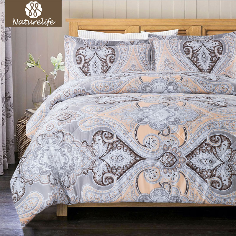 Naturelife paisley design pattern comforter duvet set 2 3 pcs luxury lightweight down for Home design alternative comforter
