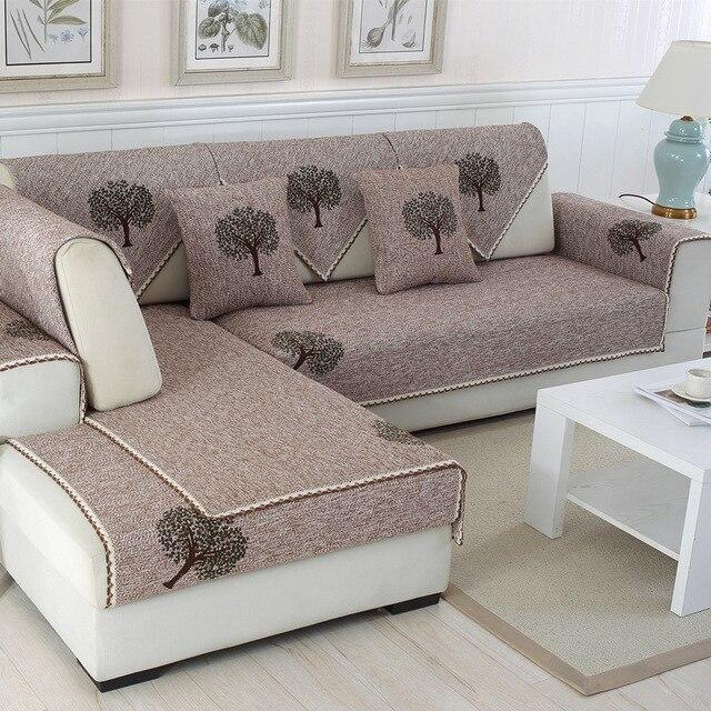 Cotton Linen Solid Tree Leaves Sofa Cover Non Slip Armrest