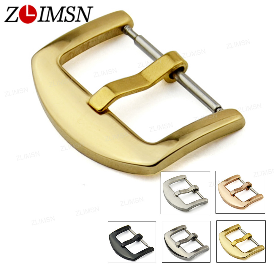 ZLIMSN 500pcs Stainless Steel Watch Buckle Black Silver Gold Rose Gold 16mm 18mm 20mm 22mm 24mm 26mm Watchband Pin Buckle zlimsn skull buckle stainless steel clasp 22 24mm silver watchband button buckles replacement watch accessories relojes hombre