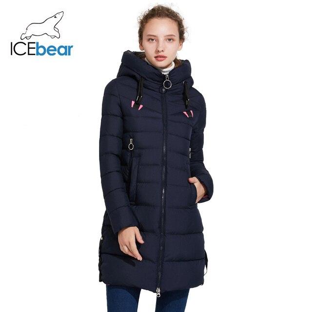 ICEbear 2017 Зимняя мужская верхняя одежда тёплое пальто с несъёмным капюшоном на двухсторонней молнии 17G6158D