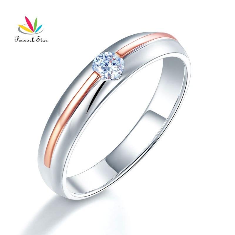 Paon étoile hommes 14 K or blanc Rose or 2 couleur alliance hommes bague diamant