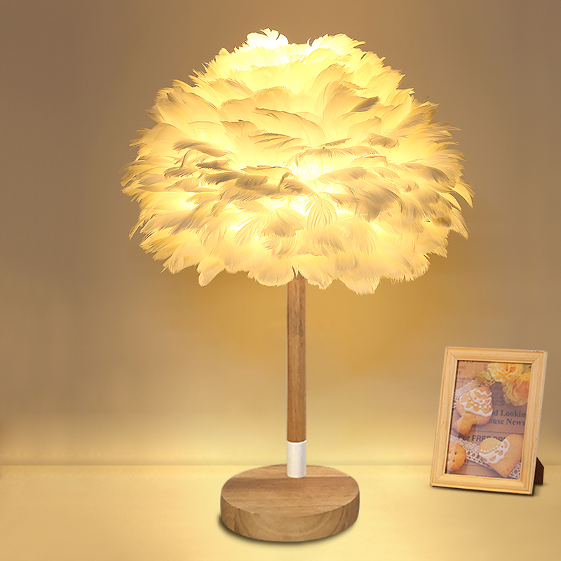 Nordic Wood desk lamp modern fashion warm boys and girls princess room bedroom natural feather table lamp