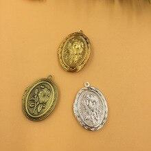 33x23mm 2 piezas 4 colores flor ovalada marco de fotos caja de medallón, latón bronce/oro/plata colgante, DIY Vintage artesanía joyería