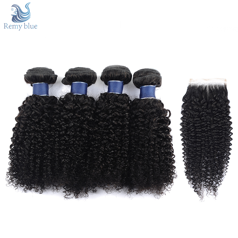 Remy Blue Hair Natural Color Peruvian Kinky Curly Hair With Closure Remy Hair Weave Extension Human Hair 4 Bundles With Closure