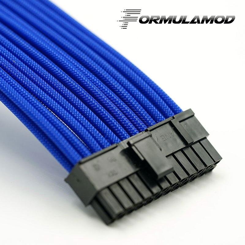 FormulaMod Fm-ATX24P-A, ATX 24Pin материнская плата удлинитель, 18AWG 24Pin многоцветные соответствующие кабели расширения - Цвет лезвия: Blue