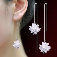 Women's Lady Fashion Ice Flower Dangle Linear Earrings Rhinestone Jewelry Gift