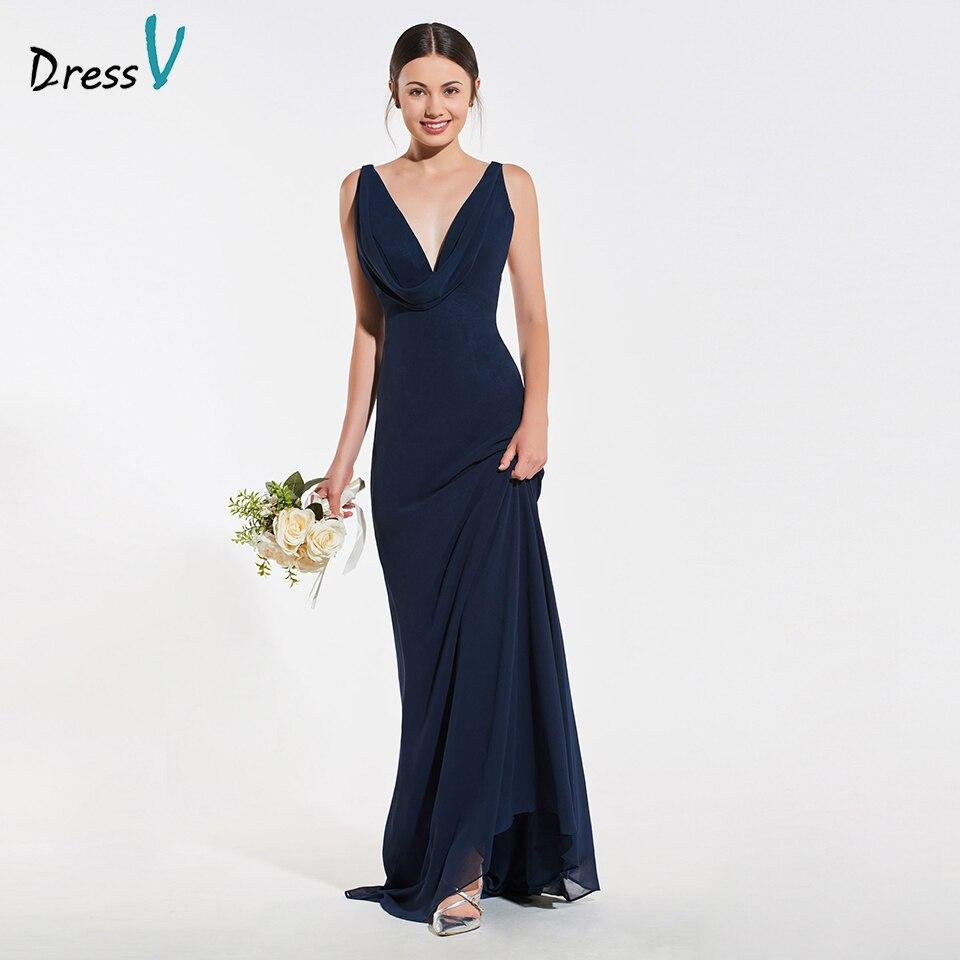 Dressv elegant navy v neck sheath sleeveless   bridesmaid     dress   draped wedding party women floor length   bridesmaid     dress