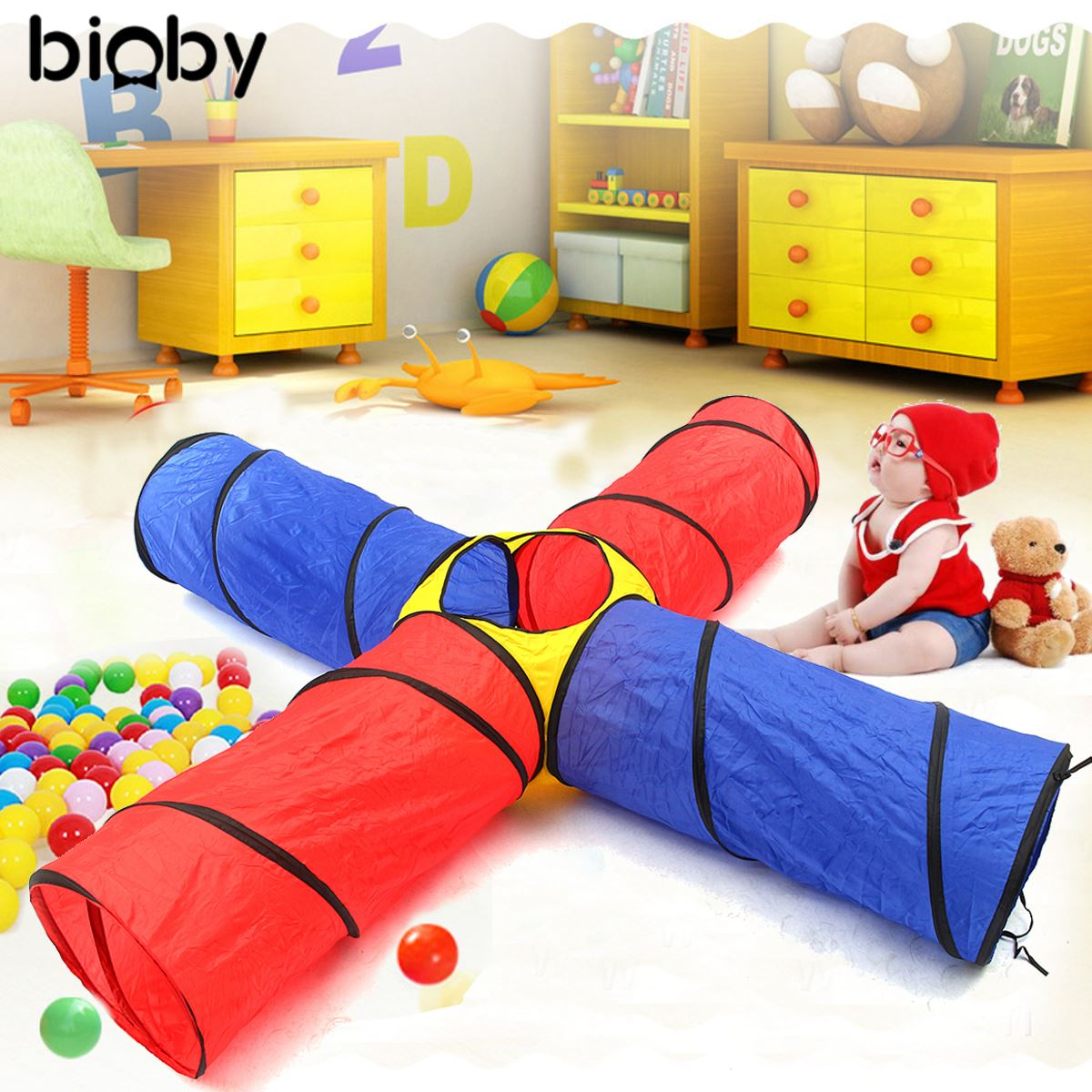 Tunnel Play Tent Kids Play Tents Pipeline Crawling Huge 4 in1 House for Children Outdoor Indoor Yard Playpens Ocean Stress free shipping 3 in 1 kids tent pipeline crawling huge game play house baby play yard ball pool outdoor indoor baby playpen