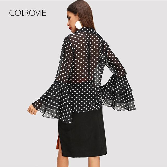 Black Tiered Ruffle Dot Print Elegant Blouse