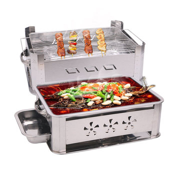 Stainless steel furnace fish grilled commercial hotel thickened charcoal grill fish dish shelf alcohol Sichuan roast fish