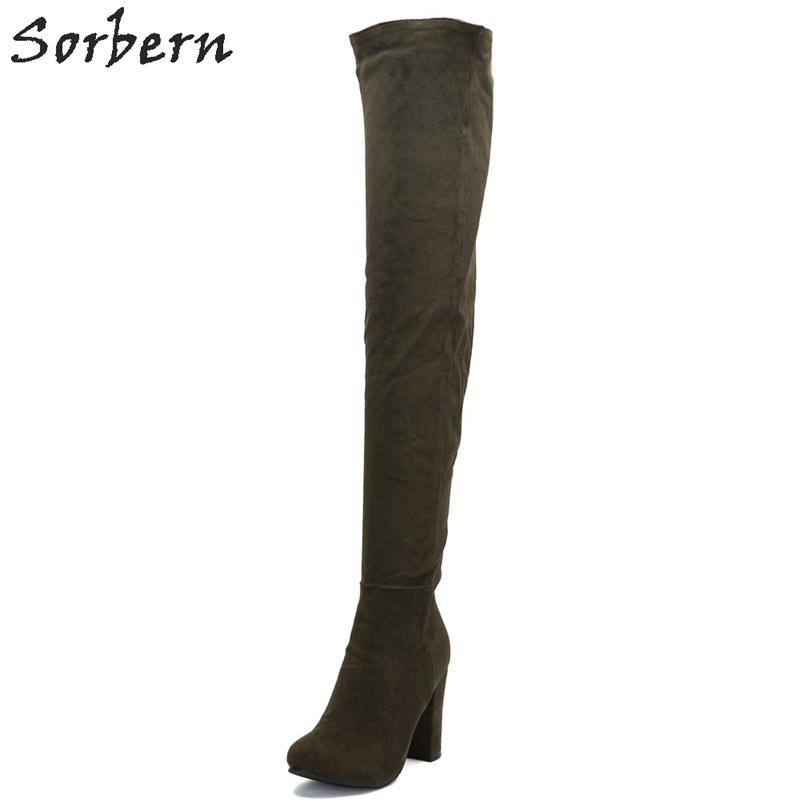 Sorbern Over The Knee Length Women Boots Square Heel Botines Mujer 2018 Chaussures Femme Womens Boots sorbern over the knee length women boots square heel botines mujer 2018 chaussures femme womens boots