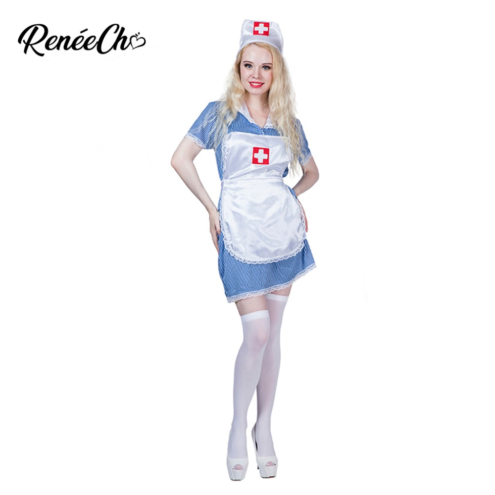 women costume sexy nurse cosplay halloween costume for adult blue party fancy dress with hat apron set scrub doctor costume