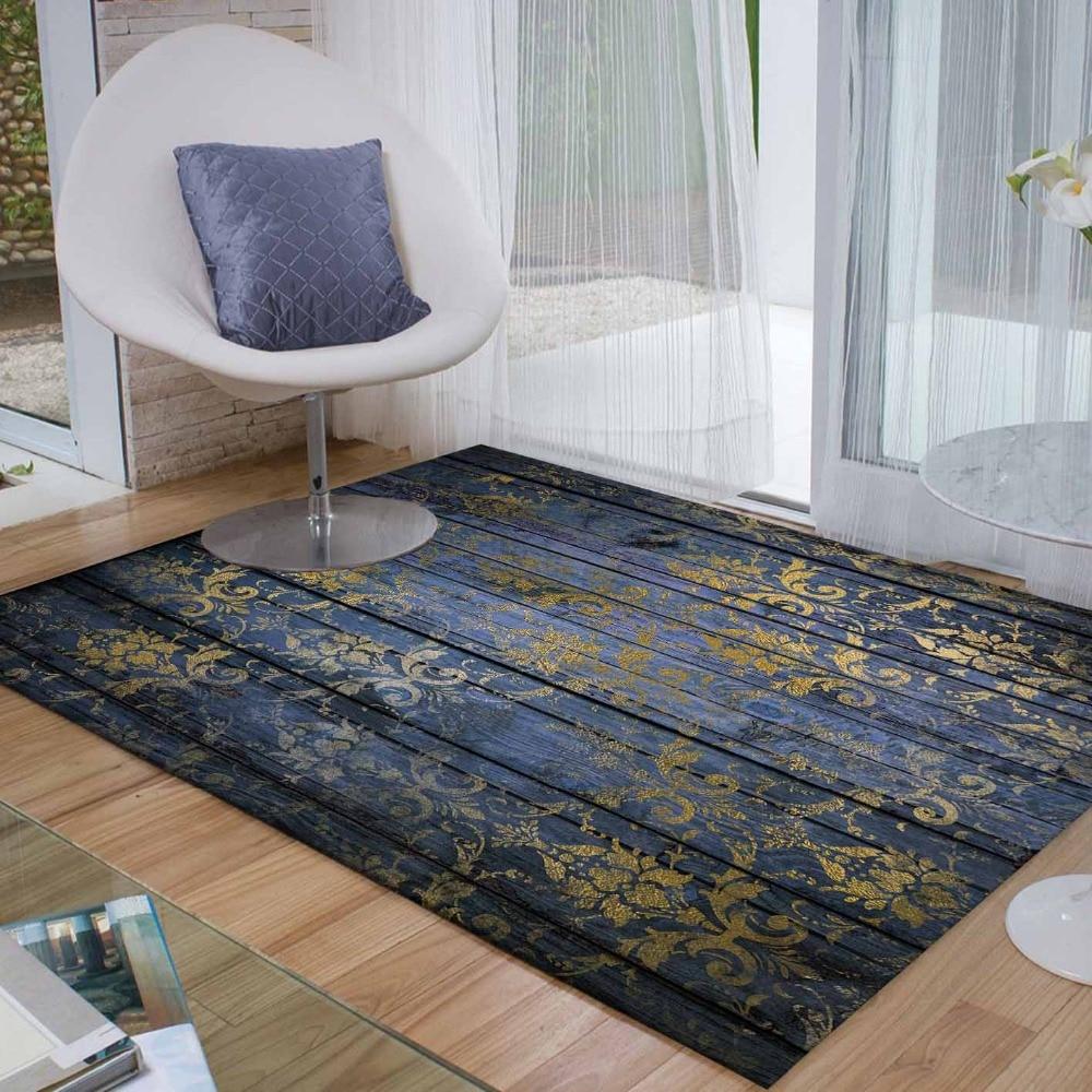 Else Navy Blue Wood Golden Yellow Florals Retro 3d Print Non Slip Microfiber Living Room Decorative Modern Washable Area Rug Mat Carpet     - title=