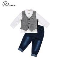 Pudcoco Neue Gentleman Suit Jungen Langarmshirts Kinder Formale Weste Kleinkind Junge Jeans Grau Weste Outfits