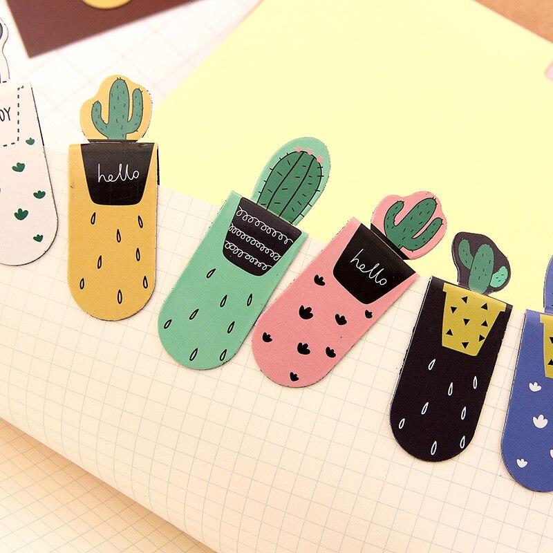 3PCs/set Coloffice  Small Fresh Cartoon Pocket Cactus Magnet Bookmarks Random Design 9*3 Cm  For Girls  Office&School Supplies