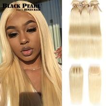 Black Pearl Brazilian Straight Human Hair Bundles With Closure  Honey Blonde Bundles With Closure 613 Bundles With Closure