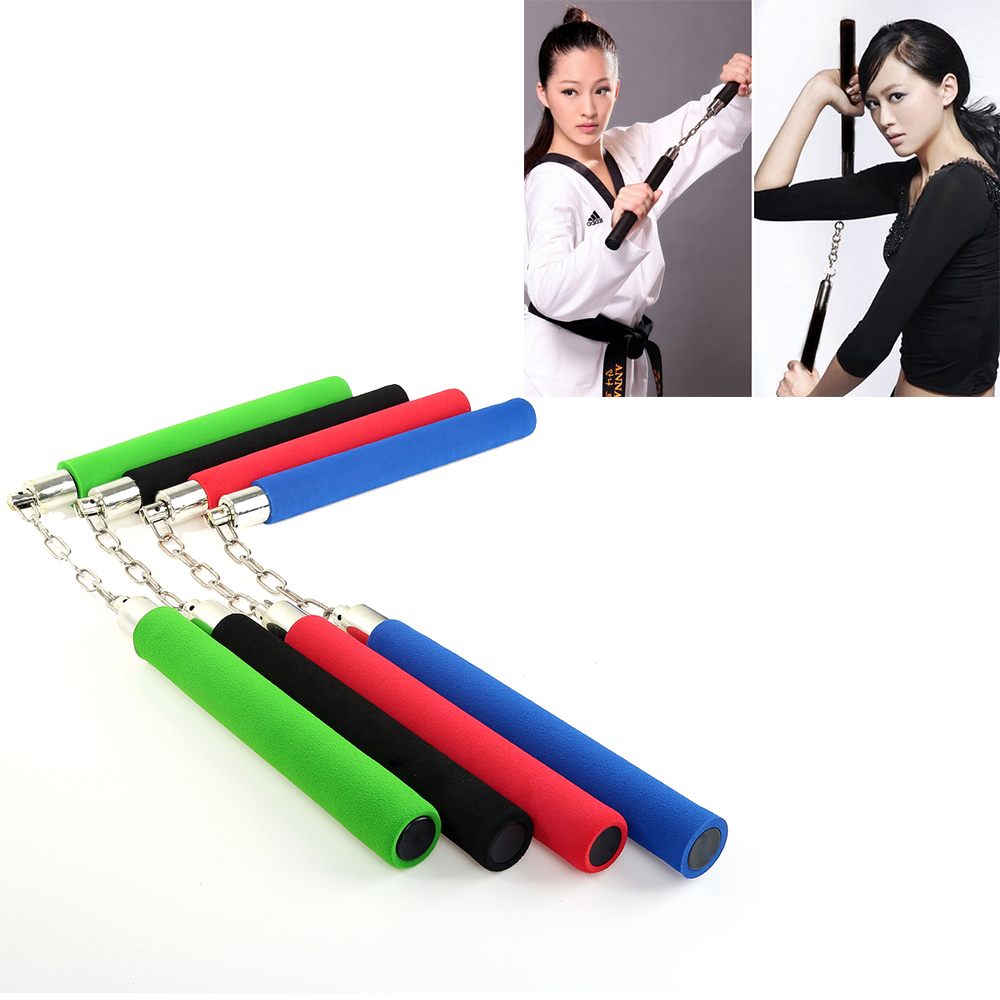 Dropship 1pc Red/Blue/Black/Green Hot Martial Art Foam Padded Safe Fitness Nunchakus For Children KungFu Beginners Training Tool