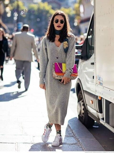 0542c5b68d3 Big V Neck Long Loose Sweater Oversized Knitted Sweater Dress Autumn Knee  Long Sleeve Bodycon Dress Female Robe Femme Pull 2018