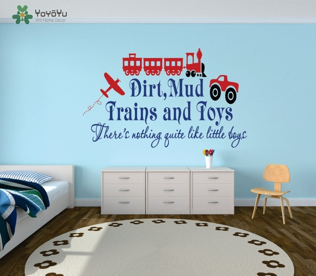 Wall decal vinyl sticker train airplane car with quote dirty mud train and toy for kid