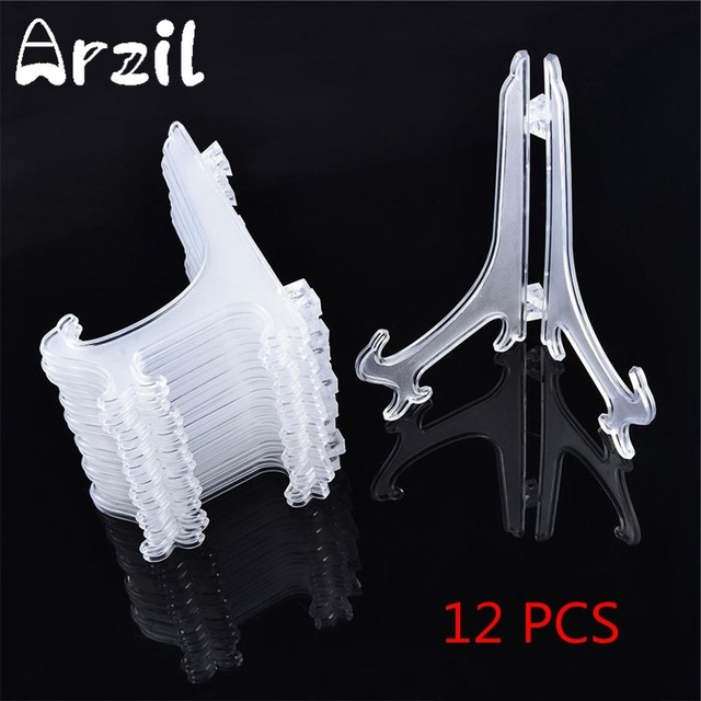 12pcsset Plate Picture Frame Holders Display Clear Plastic Easels