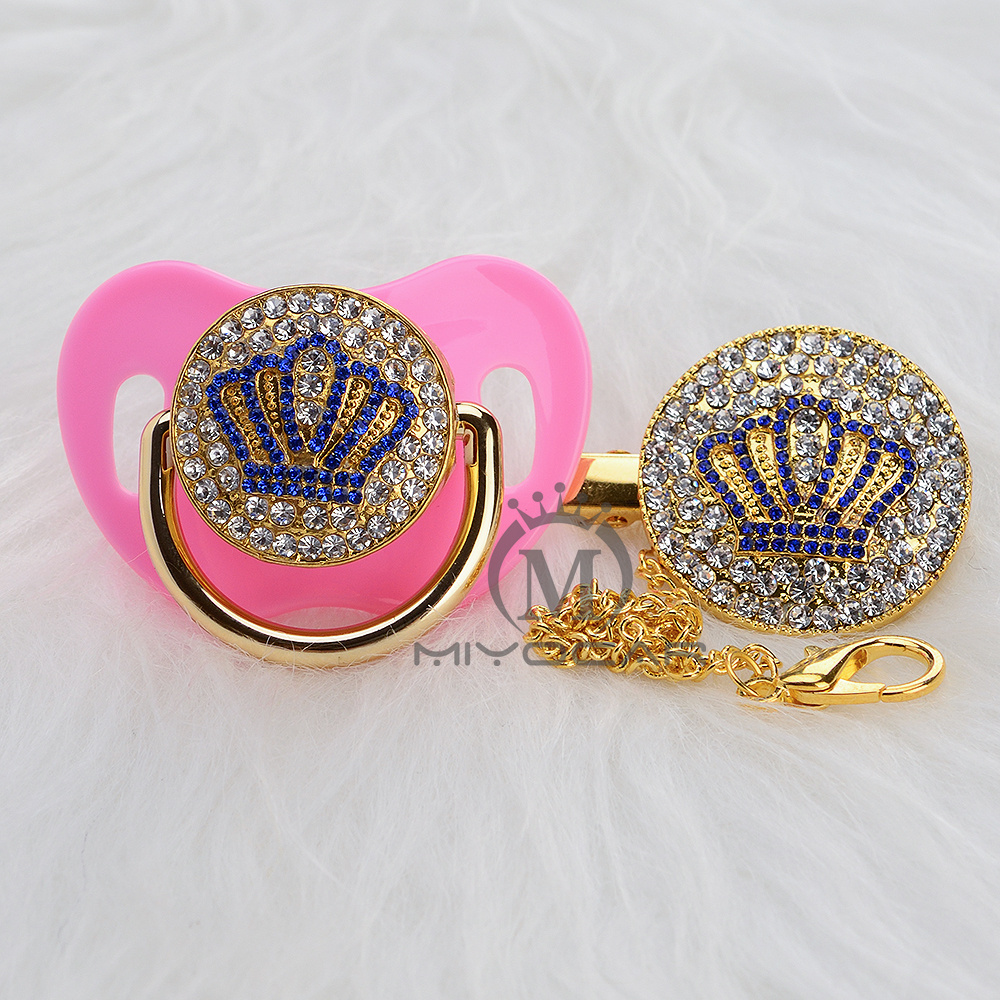 MIYOCAR Gold beautiful GOLD bling blue crown pacifier and pacifier clip set BPA free dummy bling unique design ABCB 9 1 in Pacifier from Mother Kids