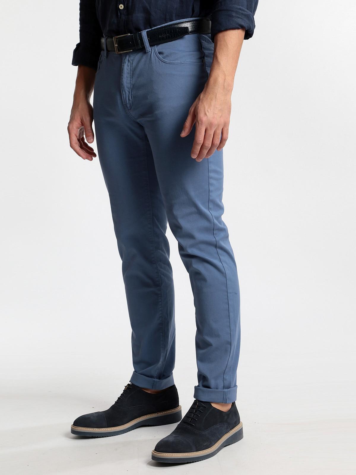 Pants Blue Cotton-regular Fit
