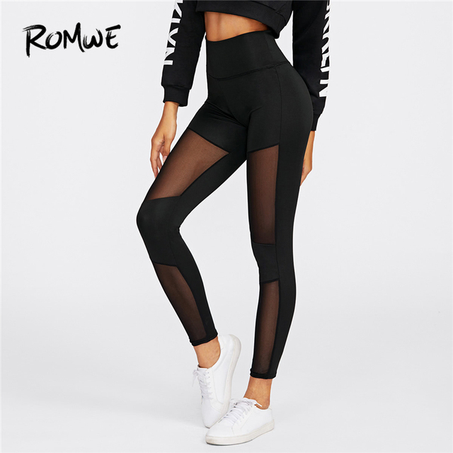Romwe Sport Stitching Mesh Sheer Leggings Women Stretchy Crop Black Running  Tights 2018 Jogging Gym Thin c9711323bad0