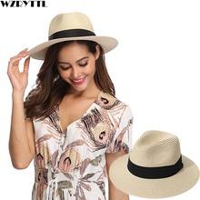 Women Ribbon Wide Brim Panama Straw Hat Fedora Beach Sun Hat UPF50 Sun Floppy Summer Boater