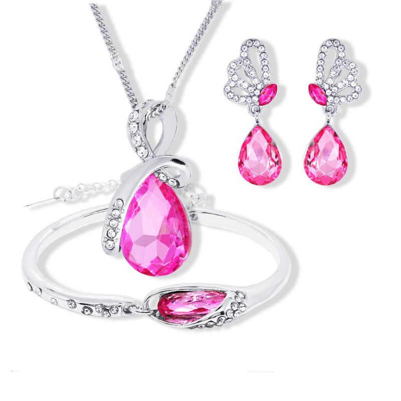 2018 New Wholesale Austrian Crystal Jewelry Sets Water Drop Pendant Necklace Stud Earring Bracelet Silver Plated Jewellery Women