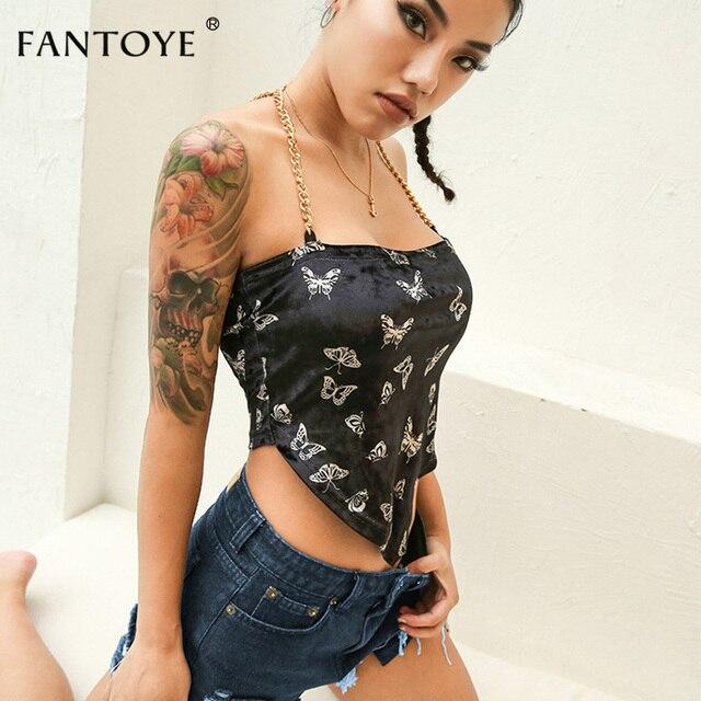 Fantoye Sexy Backless Velvet Women Tops Butterfly Print Halter Metal Chain Asymmetrical Crop Top Hot Streetwear Black Tank Top 2