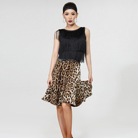 Latin Ballroom Dance Competition Dresses Sexy Black Both Sides Tassel Tops Clothing For Women Or Lady Leopard Skirts DWY333