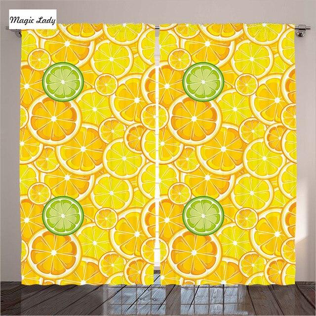 Fruit orange s Keuken schaduw stof gordijn Foto Print Citroenen ...