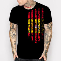 New Spain Country Flag 3D Print T Shirt Men S Black 100 Cotton Short Sleeve Summer