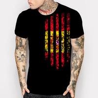 New Spain Country Flag 3D Print T Shirt Men S Black 100 Cotton Short Sleeve Summer