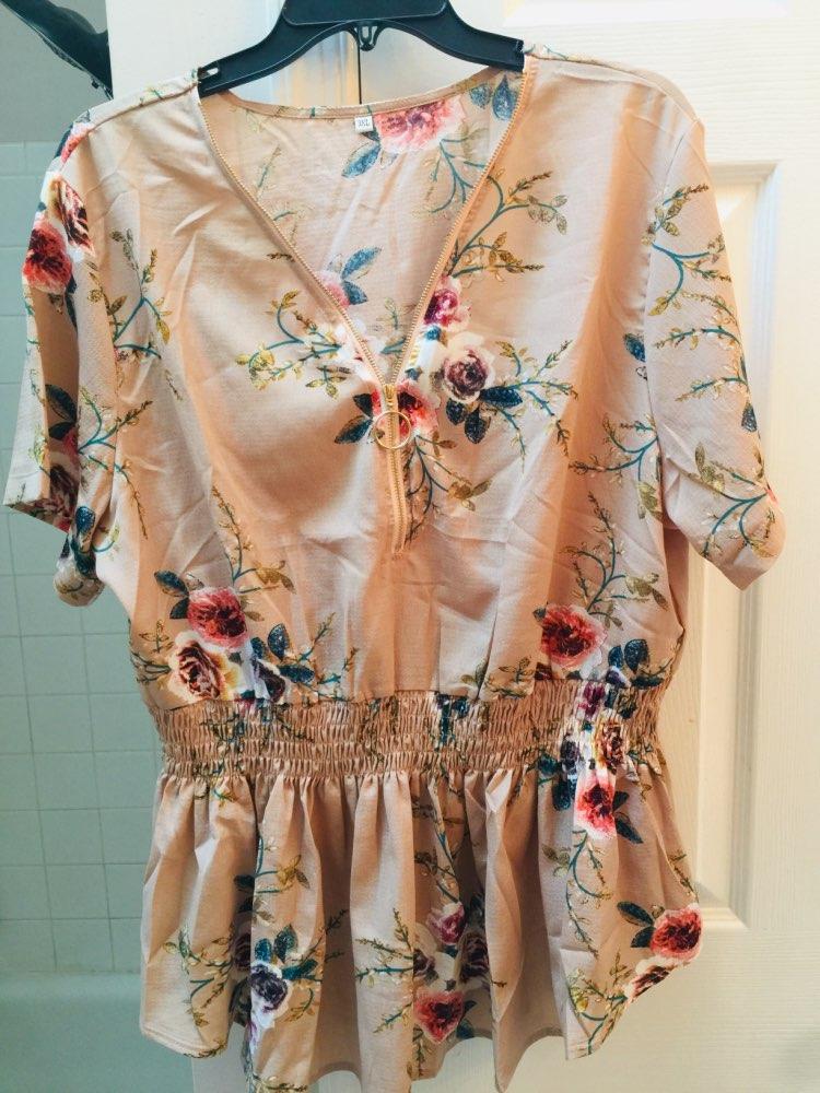 Chiffon Blouse Summer Women Clothing Peplum Tops V Neck Causal Zipper Blusas Boho Floral Printed 4Xl Plus Size Shirts photo review