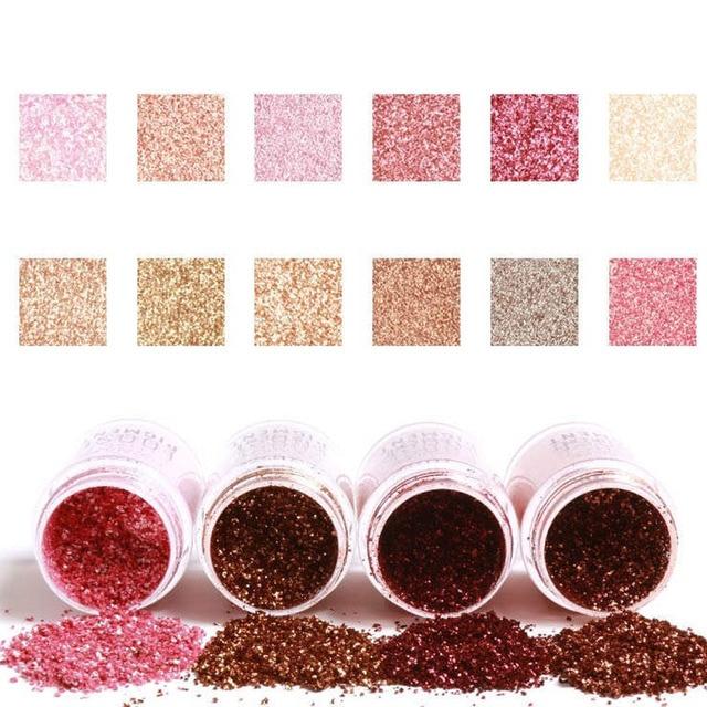 FOCALLURE 12 Kleuren Glitter Oogschaduw Cosmetische Make Lips Losse Make Ogen Pigment Poeder
