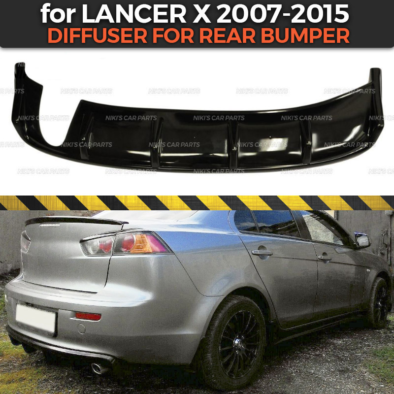 Diffuser for Mitsubishi Lancer X 2007 2015 of rear bumper ABS plastic body kit aerodynamic pad